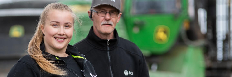Helgumlaget, Ångermanlands skogsförvaltning. Skogsmaskinförare Johanna Strid och Jan-Ove Lidström.