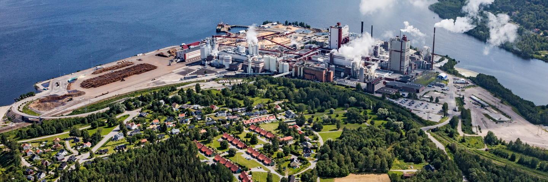 Östrands massafabrik. Östrand pulpmill. Foto taget 2019.