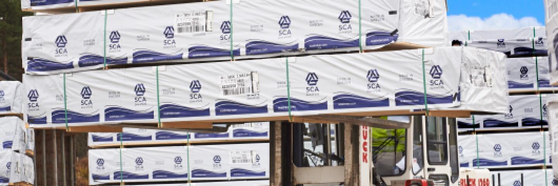 Sågade trävaror från SCA Timber Supply Skandinavien i Stugun. SCA Timber, SCA Forest Products.